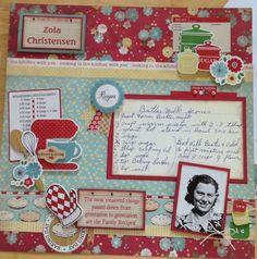 Heritage Scrapbooking, Photo Album Scrapbooking, Scrapbook Page Layouts, Scrapbook Albums, Scrapbook Cards, Scrapbooking Ideas, Vintage Scrapbook, Homemade Recipe Books, Homemade Cookbook