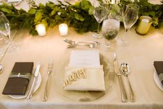 lisa stoner events- four seasons orlando- ivory linen - clear charger plates - luggage tag wedding favors - carved wood place cards. Wedding Events, Wedding Favors, Four Seasons Orlando, Wedding Design Inspiration, Name Place Cards, Charger Plates, Carved Wood, Portfolio Design