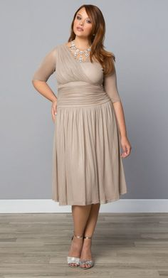 For a classic, romantic look this Valentine's Day try on our plus size Limited Edition Glimmer Cocktail Dress in a gorgeous champagne Shop www.curvaliciousclothes.com #plussize #plussizefashion