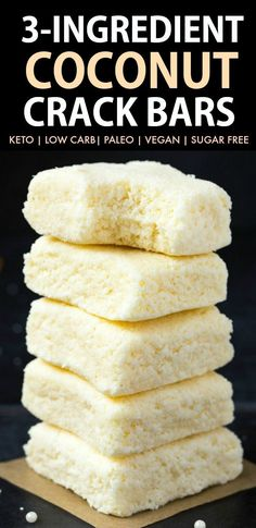 No Bake Coconut Crack Bars (Paleo Vegan Keto Sugar Free Gluten Free)- Easy healthy and seriously addictive coconut candy bars using just 3 ingredients and needing 5 minutes! The Perfect snack or dessert to satisfy the sweet tooth! Ketogenic Desserts, Low Carb Desserts, Keto Snacks, Low Carb Recipes, Dessert Recipes, Keto Sweet Snacks, Baking Snacks, Carb Free Snacks, Paleo Dessert