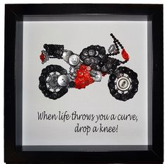 A personal favourite from my Etsy shop https://www.etsy.com/uk/listing/233984341/personalised-motorbike-button-art-framed
