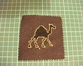Handmade golden outline camel cross stitch supply