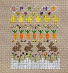 Spring Sampler, celebrating the fresh new beginnings. Flowers blooming, little chickens and bunny ra Tiny Cross Stitch, Cross Stitch Tree, Cross Stitch Borders, Cross Stitch Samplers, Cross Stitch Flowers, Modern Cross Stitch, Counted Cross Stitch Patterns, Cross Stitch Charts, Cross Stitch Designs