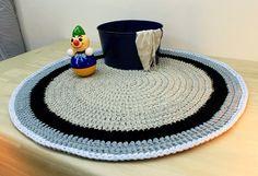 Cotton Rug Knitted Rug Handmade Rug Blue and Gray от OmaniStudio