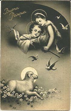 "Easter Buona Pasqua Angels Lamb Dove 1941 Italy 3½"" X 5½"" Postcard        BIN/BO #Easter"