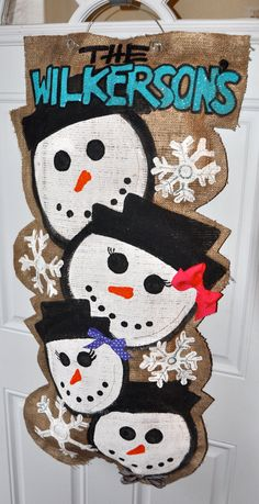 Snowman Family Burlap Door Hanger by alicepettyjohn on Etsy, $50.00