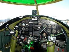 "Cockpit of the B25 Mitchell Bomber, ""Take Off Time"", Tail #335772."