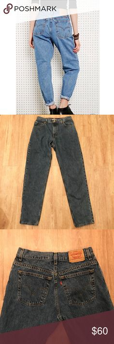 Levi's 550 Tapered Vintage High Rise Mom Jeans GUC! Super cute and trendy. The photo with the model models a pair with a lighter wash, the pair you'd receive are a bit darker. The first photo is just to show how they look when worn. Labeled a 10L but please see measurements for an accurate fit. 32 inch inseam, 11 inch rise, and 14.5 inch waist laying flat measurement. NO TRADES Levi's Jeans
