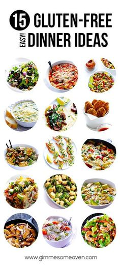 15 Gluten Free (Easy!) Dinner Ideas -- a collection of some of my favorites! | gimmesomeoven.com #dinner #recipe #glutenfree #gf