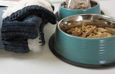 Royal Gray Cozy Pet Throw with set of 2 Teal Dog Bowls and Natural Duck Dog Treats. - Adog.co  - 1