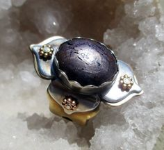 Lotus Ring with Dark Purple Star Sapphire by SilviasCreations