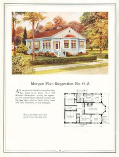 United States, Plan Suggestion A neoclassically-styled bungalow with an unusual layout for the time. Building with Assurance by Morgan Woodwork Organization, (Chicago, IL, USA) —from. Vintage House Plans, Modern House Plans, Small House Plans, House Floor Plans, Vintage Homes, Architecture Design, Cottages And Bungalows, Beach Cottage Style, Expensive Houses