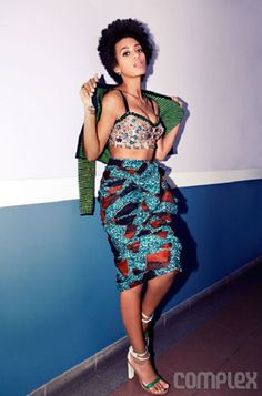 Solange Knowles wears a Burberry Prorsum ankara print skirt for Complex April 2012