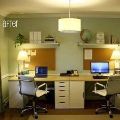 a dining room is transformed into a home office for two - Home Office Designs For Two