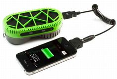 Powertrekk is a USB charger for mobile devices. It uses fuel-cell technology to convert hydrogen gas into electricity.