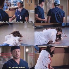 Derek: Mira, no me digas que Lexie no está preocupada. Mark: No, Lexie está preocupada. Greys Anatomy Funny, Greys Anatomy Episodes, Greys Anatomy Characters, Grays Anatomy Tv, Grey Anatomy Quotes, Lexie And Mark, Meredith Grey Quotes, Netflix, Mark Sloan