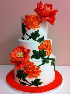 Orange Peony Cake