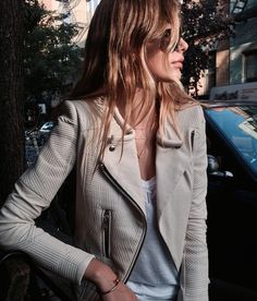 I love everything about this jacket - the neutral color, how soft it looks, the different textures and zippers. Such an awesome style!