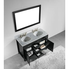 Website Picture Gallery  inch Espresso Finish Solid Wood Double Sink Bathroom Vanity with Soft Closing Drawers