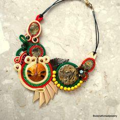 Soutache necklace by BozenaKorwatJewelry on Etsy