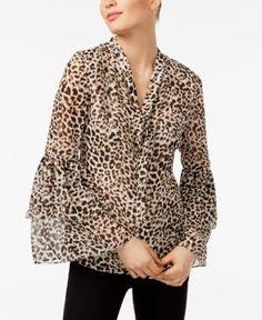 Calvin Klein Printed Tie-Neck Blouse - Leopard XS