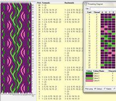23 tarjetas, 4 colores // sed_157༺❁ Inkle Weaving, Inkle Loom, Card Weaving, Weaving Art, Tapestry Weaving, Tablet Weaving Patterns, Weaving Textiles, Card Patterns, Loom Patterns