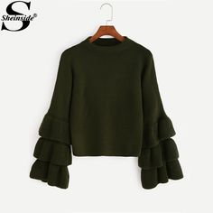 Sheinside Tiered Ruffle Sleeve Sweater Women Crew Neck Flare Sleeve Cute Pullovers Sweater 2017 Long Sleeve Casual Sweater #Sheinside #sweaters #women_clothing #stylish_sweater #style #fashion