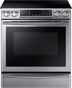 Samsung NE58K9560WS 30 Inch Induction Slide-in Range with 5.8 cu. ft. Dual Fan Convection Oven, Virtual Flame Technology, Smartphone WiFi Control, Warming Drawer and Steam Self-Cleaning Mode