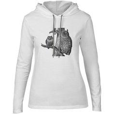 Mintage Tree Owls Womens Fine Jersey Hooded T-Shirt