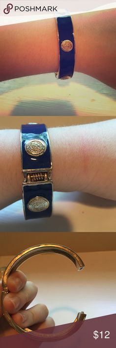 Blue and gold enamel bracelet Worn once and in great condition. Will bundle with any other bracelet for $18 Jewelry Bracelets