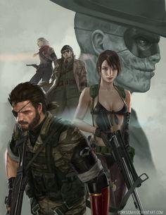 Fan art Metal Gear Solid V The Phantom Pain #MGSV #MGSVTPP #NakedSnake #VenomSnake #PunishedSnake #ThePhantomPain #MetalGearSolid #BigBoss #DiamondDogs #KazuhiraMiller #Quiet #RevolverOcelot #Shalashaska #SkullFace
