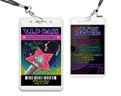 Get the VIP Pass Pop Star Invitation you've been looking for, for your retro pop star birthday party, customized with your childs name, and the