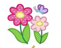 DAISY FLOWER APPLIQUE TEMPLETE | Daisy flowers butterfly applique ma chine embroidery design ...