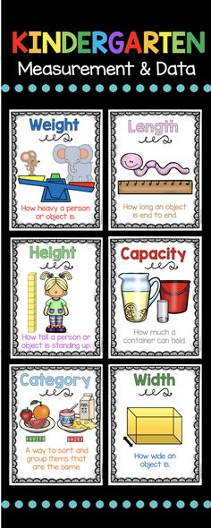 Adorable posters for your measurement and data math unit - kindergarten math center - common core aligned unit with FREE printables and worksheets Learning Measurements Kindergarten Posters, Measurement Kindergarten, Kindergarten Anchor Charts, Measurement Activities, Math Measurement, Homeschool Kindergarten, Kindergarten Worksheets, Teaching Math, Preschool Activities