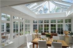 Orangery kitchen extensions designed, manufactured and installed by David Salisbury. These kitchen extensions can be designed to suit any style of property. Kitchen Orangery, Conservatory Kitchen, Orangerie Extension, Sunroom Windows, Kitchen Windows, Glass Room, Kitchen Family Rooms, Beautiful Kitchens, French Doors