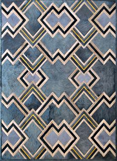 Kyle Bunting Hair on Hide Rug Ipanema-rugs-textiles - shown in Smoke, Ivory, Ink and Chick