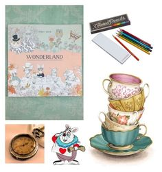 """Alice in wonderland coloring book"" by sincerelysweetboutique ❤ liked on Polyvore featuring art"