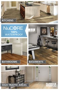 Wow them with our Floor & Decor exclusive NuCore 100% waterproof flooring. It looks and feels like wood, but NuCore can be installed where real wood cannot. NuCore comes ready to install, right out of the box and can be installed over most existing floors.