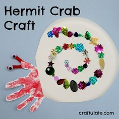 Hermit Crab Craft from Craftulate, great for after reading A House for Hermit Crab (Carle).