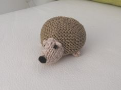 Hand knitted super cute hedgehog critter. Mind you, contrary to popular belief, he's not all that prickly!