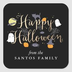 Spooky Critters Halloween Square Sticker - tap/click to get yours right now! #SquareSticker  #halloween #kids #greeting #cute #pumpkin Halloween Witch Wreath, Halloween Make, Halloween Stickers, Halloween Design, Halloween Party Supplies, Halloween Party Invitations, Happy Halloween Quotes, Happy Words, Cute Pumpkin