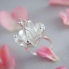 Fantasy flower statement ring in white sterling by TheManerovs