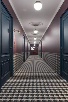 Saved onto Architecture & Interior Collection in Architecture Category Hotel Hallway, Hotel Corridor, Hotel Henriette Paris, Corridor Lighting, Flur Design, Design Design, Graphic Design, Hallway Designs, Lobby Design