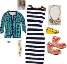 """Gap Striped Sleeveless Jersey Dress/ Aquascope Cardigan/ Candy Cluster Pendant Necklace"" by jennifoundinmycloset on Polyvore"