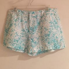 BNWT linen blue and white shorts Perfect condition, linen shorts with aqua blue water color pattern. Perfect for spring and summer! Additional measurements can be provided, just ask!  VB Valerie Bertinelli Shorts