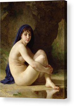 Female; Sitting; Naked; Bare; Cross-legged; Water; Headscarf; Distracted; Thoughtful; Pensive; Reflection; Neo-classical; Blue Cloak; Outdoors; Sat Acrylic Print featuring the painting Seated Nude by William Adolphe Bouguereau