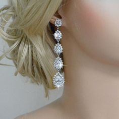 Vintage Inspired Flawless Zircon Long Wedding Earring, Silver Bridal Dangle Earring, Bride Accessory, Bridesmaid Jewelry