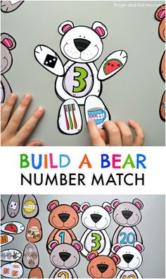 This cute Build a Bear Number Match printable will help your kids build a strong number sense! Your kids will build the number bears by counting the bees, watermelon seeds, fingers on a hand, dots on a hot cocoa tens frame, toothbrush and carrot shaped ta Math Classroom, Classroom Activities, Teaching Math, Learning Activities, Preschool Activities, Kids Learning, Kindergarten Math Centers, Literacy Centers, Preschool Learning Centers