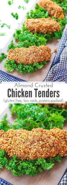 Almond crusted chicken tenders make a quick and delicious snack by dipping juicy chicken breast tenders and breading them in a combination of crunchy almond pieces garlic satisfying gluten free protein packed and low carb dish thats slightly sweet an Almond Crusted Chicken, Almond Chicken, Garlic Chicken, Healthy Chicken Recipes, Low Carb Recipes, Cooking Recipes, Healthy Dinners, Turkey Recipes, Delicious Recipes