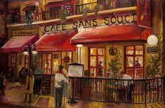 Cafe Sans Souci Painting - Cafe Sans Souci Fine Art Print